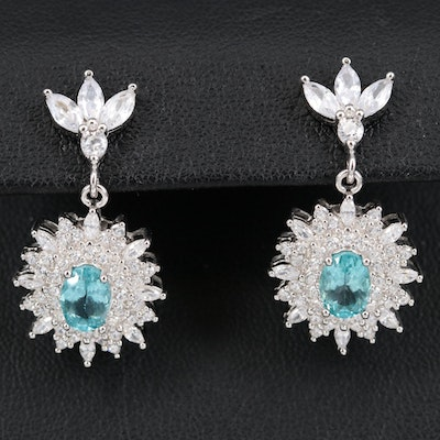 Sterling Apatite and Cubic Zirconia Earrings