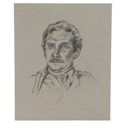 Portrait Charcoal Drawing of Gentlemen, Late 20th Century