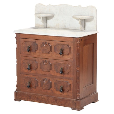 Victorian Walnut, Burl Walnut, and White Marble Washstand, Late 19th Century