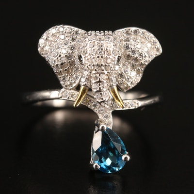 Sterling Silver Elephant Ring Featuring Topaz, Cubic Zirconia and Black Spinel