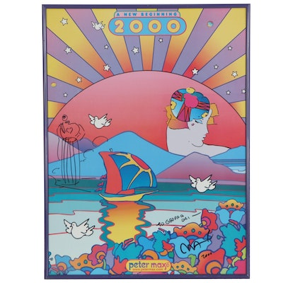 """Peter Max Offset Lithograph with Personalized Drawing """"A New Beginning,"""" 2000"""