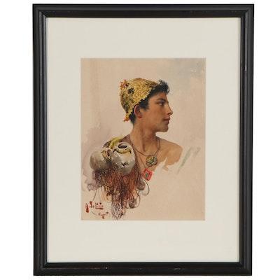 "Arnaldo De Lisio Watercolor Painting ""Study for the Judgement"""