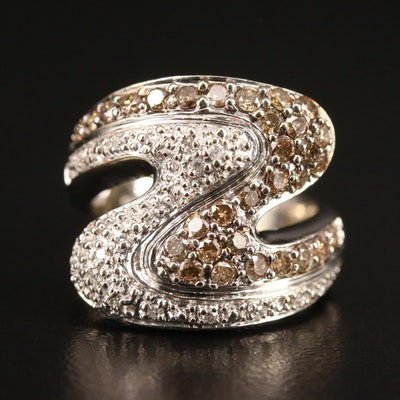 10K 0.99 CTW Diamond Ring with Wavy Design