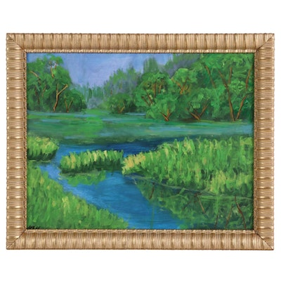 Kenneth R. Burnside Impressionist Style Oil Painting of Marsh Landscape