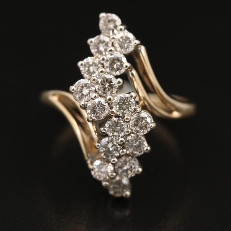 14K Diamond Waterfall Ring