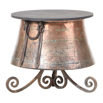 Converted Copper Boiler End Table with Iron Base and Wood Top