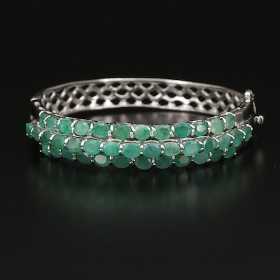 Sterling Silver Emerald Hinged Bangle