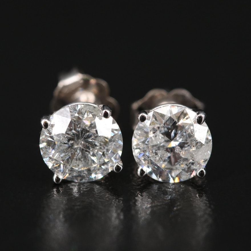 14K 2.36 CTW Diamond Stud Earrings with GIA Report