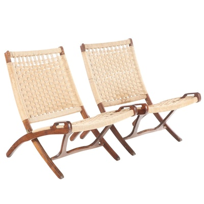Pair of Yugoslavian Mid Century Modern Beech & Woven Cord Folding Lounge Chairs