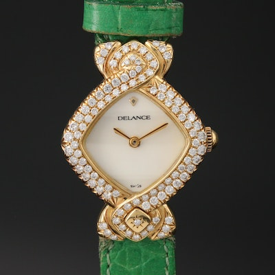 Delance Sakura 1.00 CTW Diamond and 18K Gold Quartz Wristwatch