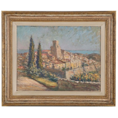 Landscape Oil Painting of Coastal Town View, Mid-20th Century
