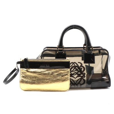 Loewe Amazona 28 Black PVC Top Handle Bag