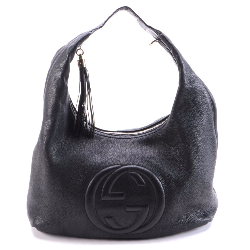 Gucci Soho Hobo in Black Grained Leather with Tassel Zipper Pull