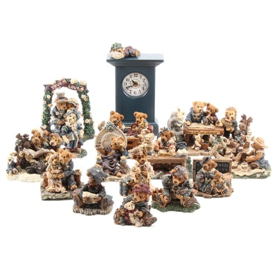 Boyds Bears & Friends Figurines and Clock, 1990s