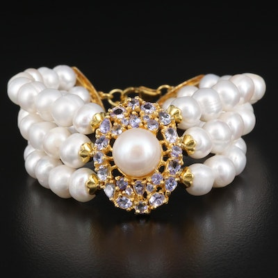 Sterling Silver Pearl and Tanzanite Triple Strand Bracelet