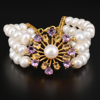 Sterling Silver Pearl, Amethyst and Citrine Triple Strand Bracelet