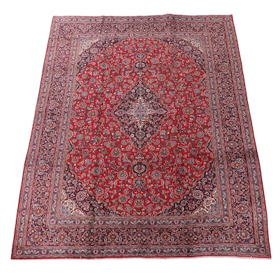 9'4 x 12'6 Hand-Knotted Persian Kashan Wool Room Sized Rug