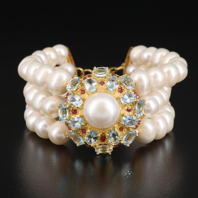Sterling Silver Pearl, Topaz and Ruby Triple Strand Bracelet