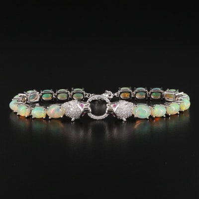 Sterling Silver Opal Panther Head Bracelet with Door Knocker Design