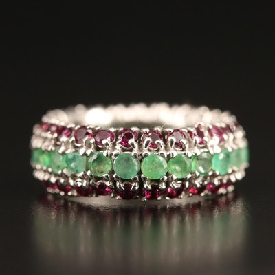 Sterling Silver Emerald and Garnet Eternity Band