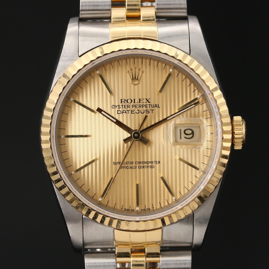 1990 Rolex Datejust Tapestry Dial 18K Gold and Stainless Steel Wristwatch