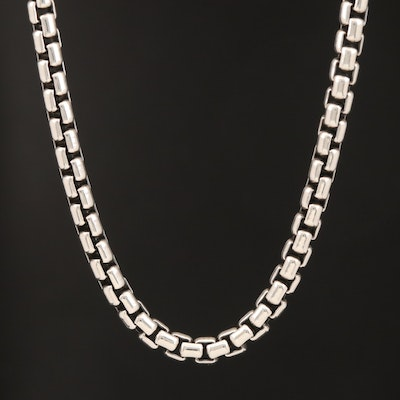 """David Yurman """"Chain Collection"""" Sterling Box Necklace with 14K Accents"""
