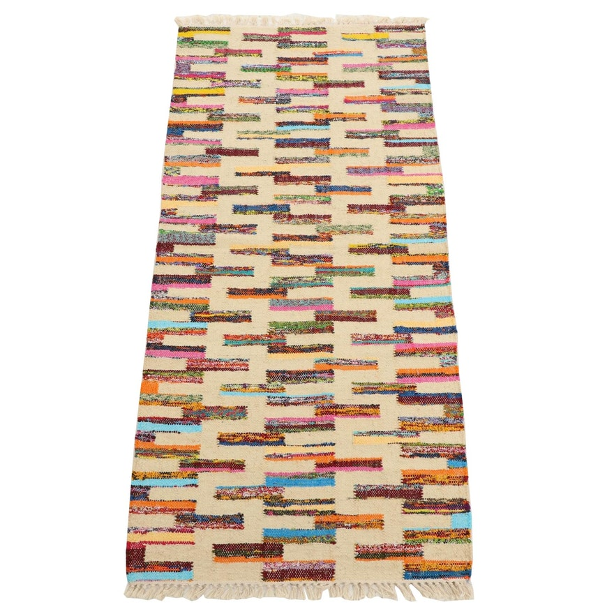 2'8 x 6'3 Handwoven Indian Wool Kilim Runner