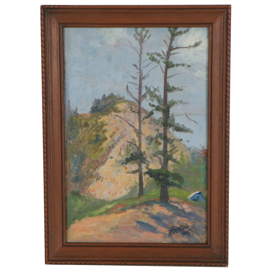Landscape Oil Painting of Forest, 1915
