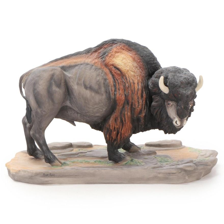 "Boehm ""Buffalo"" Bone Porcelain Figurine, Late 20th Century"