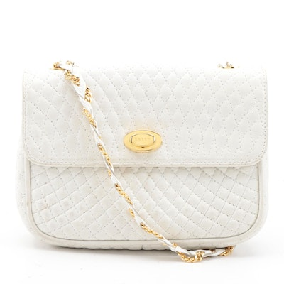 Bally Quilted White Leather Flap Front Crossbody Bag