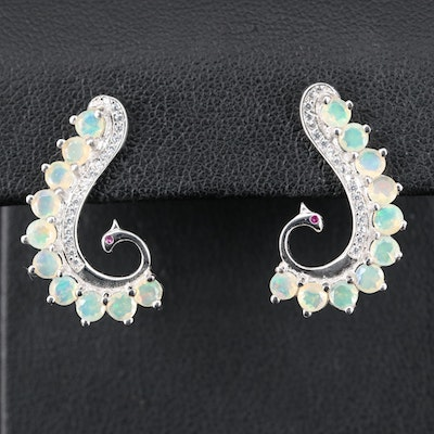 Sterling Opal, Cubic Zirconia and Ruby Scroll Earrings