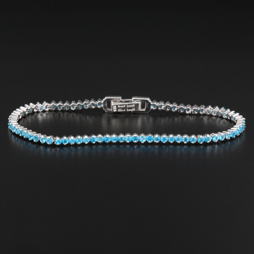 Sterling Silver Apatite Tennis Bracelet