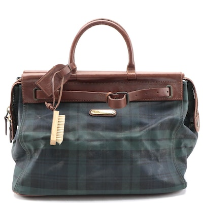 Polo Ralph Lauren Satchel in Black Watch Plaid Canvas and Smooth Cognac Leather