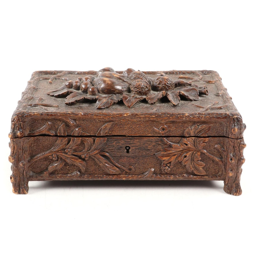 Hand Carved Walnut Black Forest Style Dresser Box, Mid to Late 19th Century