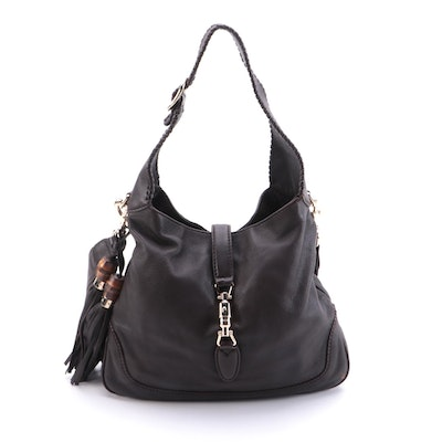 Gucci New Jackie Hobo in Brown Grained Leather with Bamboo Tassels
