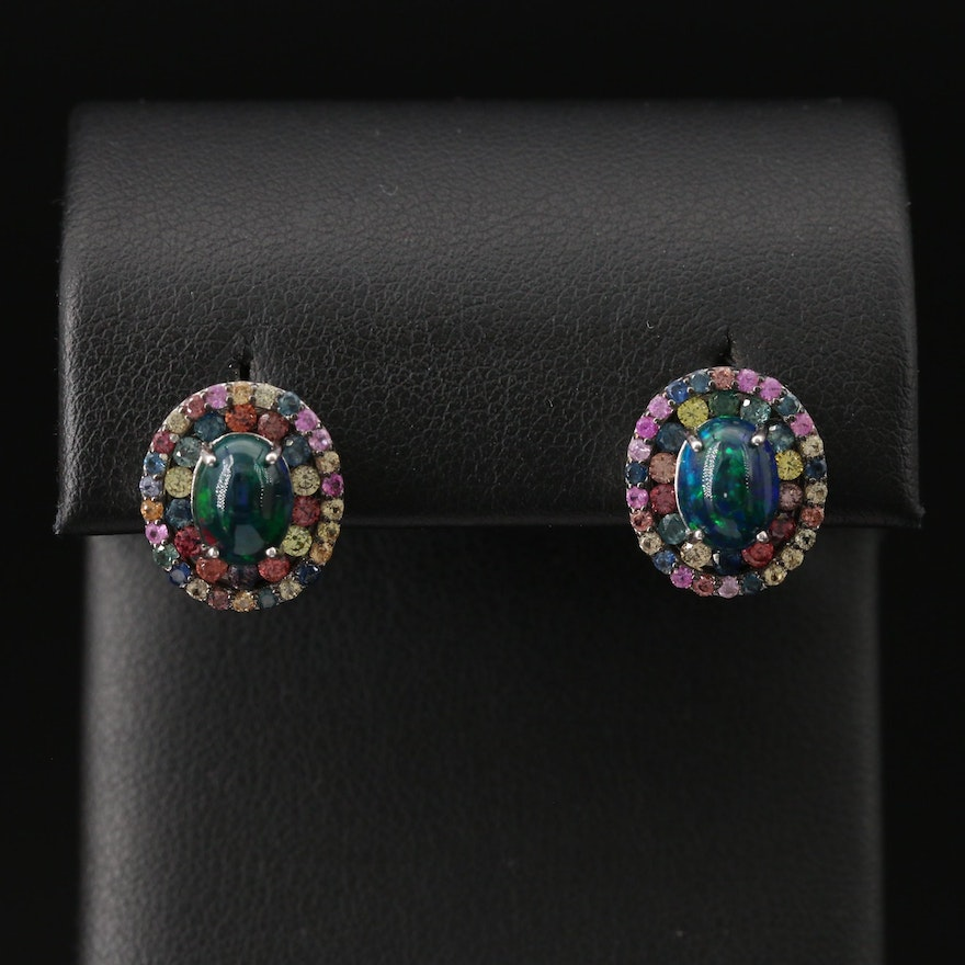 Sterling Opal and Sapphire Halo Earrings