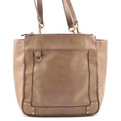 Chloé Tote in Smooth Brown Leather with Embossed Chloé Trim