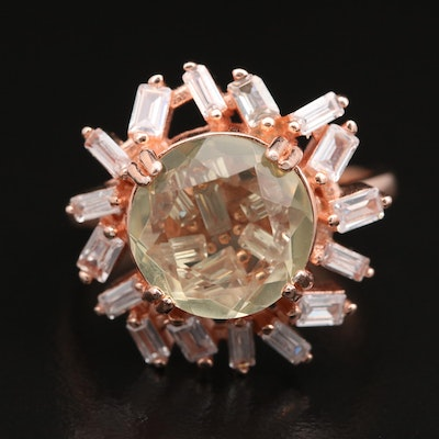 Sterling Citrine and Cubic Zirconia Openwork Ring
