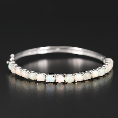 Sterling Opal Hinged Bangle