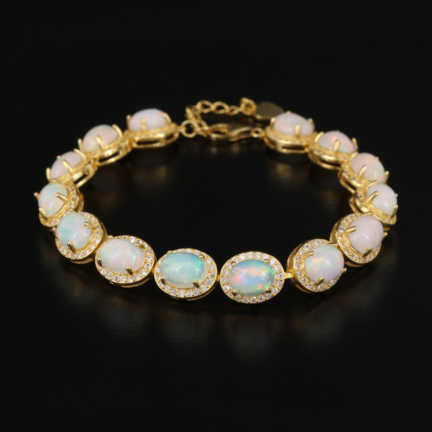 Sterling Silver Opal and Cubic Zirconia Halo Bracelet