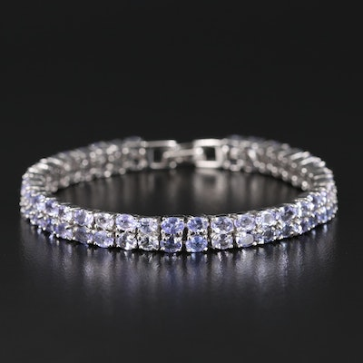 Sterling Tanzanite Double Row Line Bracelet