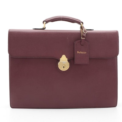 Burberrys of London Briefcase in Burgundy Textured Leather