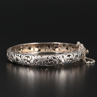 Sterling Foliate Open Scrollwork Hinged Bangle