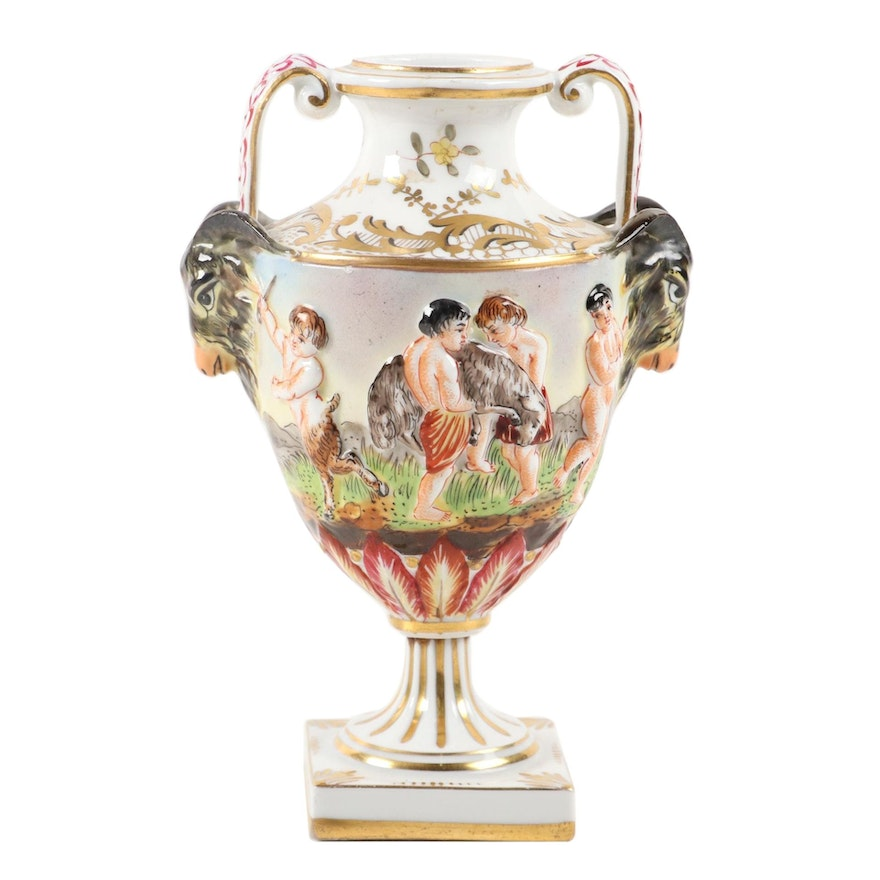 Capodimonte Porcelain Bolted Urn, Mid-Late 19th C.