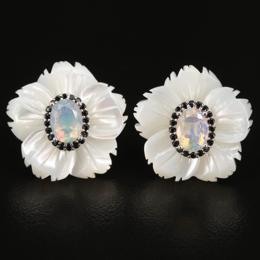 Sterling, Mother of Pearl, Cubic Zirconia and Opal Earrings