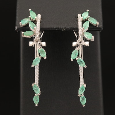 Sterling Emerald and Cubic Zirconia Foliate Earrings