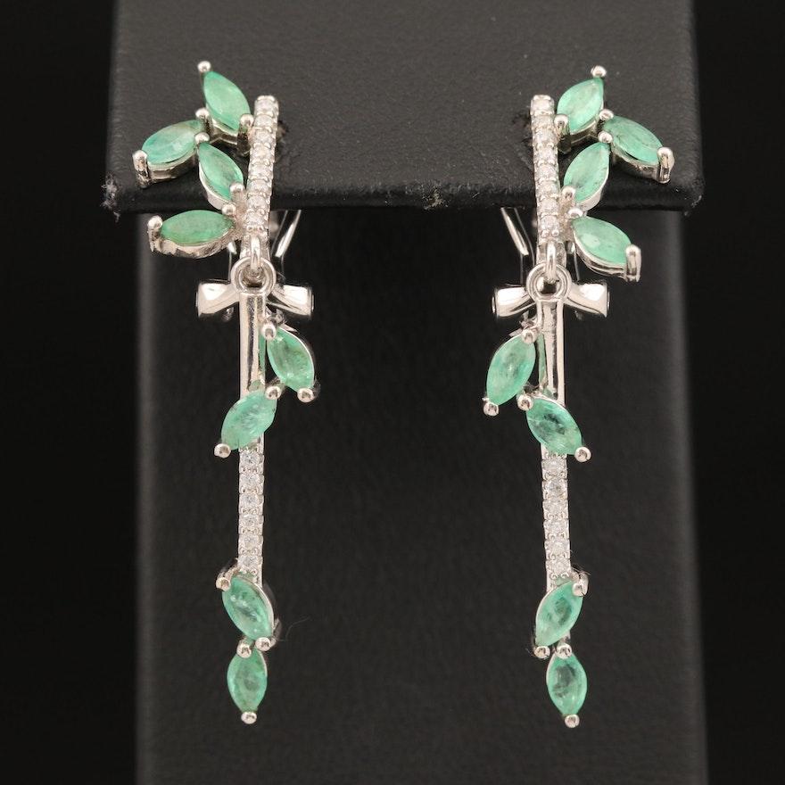 Sterling Emerald and Cubic Zirconia Foliate Earrings