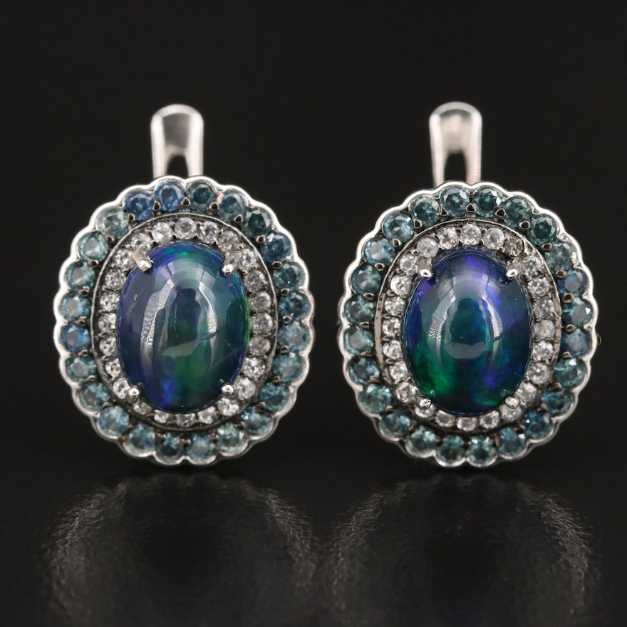 Sterling Opal, Sapphire and Topaz Double Halo Earrings