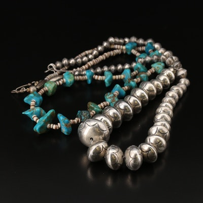 Sterling Graduated Bead and Turquoise and Shell Bead Necklaces