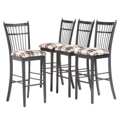 Four Bermex Furniture Ebonized and Plaid-Upholstered Spindle-Back Bar Stools